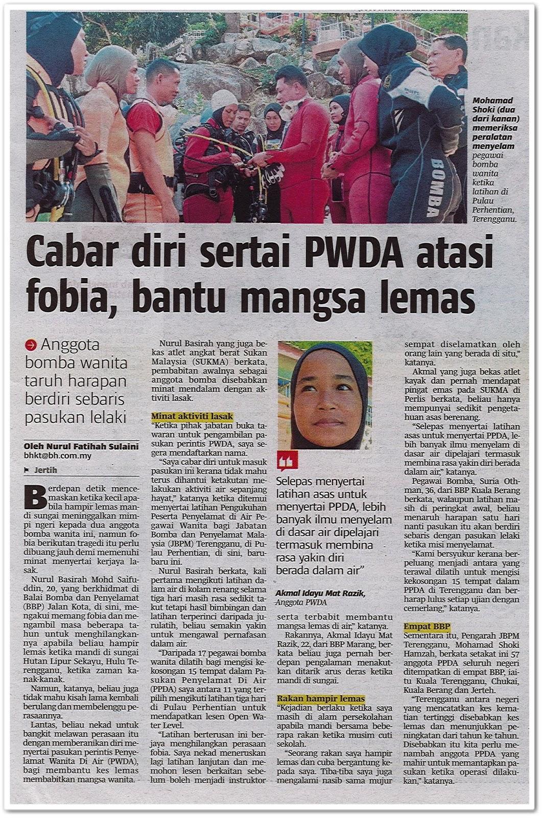 Cabar diri sertai PWDA atasi fobia, bantu mangsa lemas - Keratan akhbar Berita Harian 13 Jun 2019