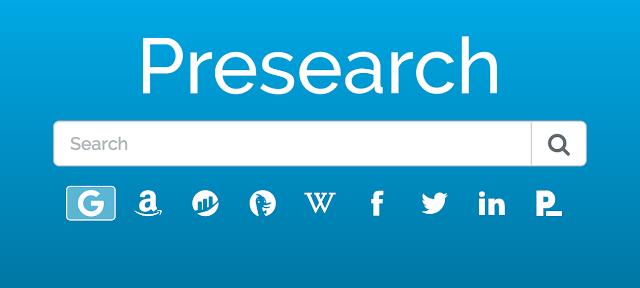 Presearch Extensión, motor de búsqueda ganar token PRE