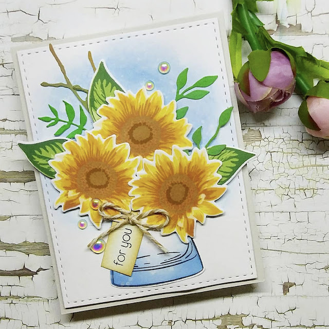 Sunny Studio Stamps: Sunflower Fields Customer Card by Bel Agtarap