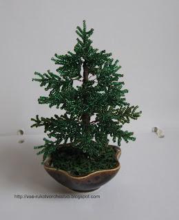 Дерево сосна из бисера. Мастер-класс с пошаговым фото