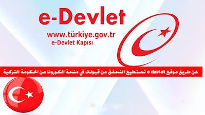 عن طريق موقع e davlat تستطيع التحقق من قبولك في منحة الكورونا من الحكومة التركية