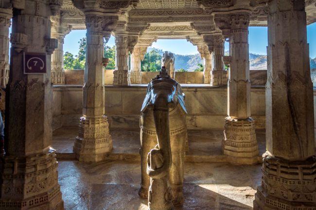 Beautiful Pavilion with statue of Maru Devi sitting atop elephant