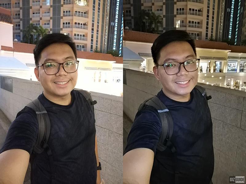 Normal low light selfie vs Night mode selfie