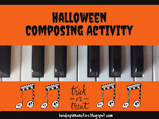 Trick or Treat Composing Free Printable Halloween Piano Activity on heidispianonotes.blogspot.com