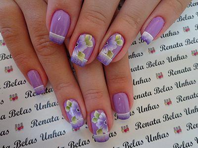 decoração de unhas lilás e roxo