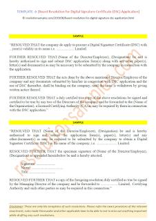 board resolution for digital signature certificate dsc