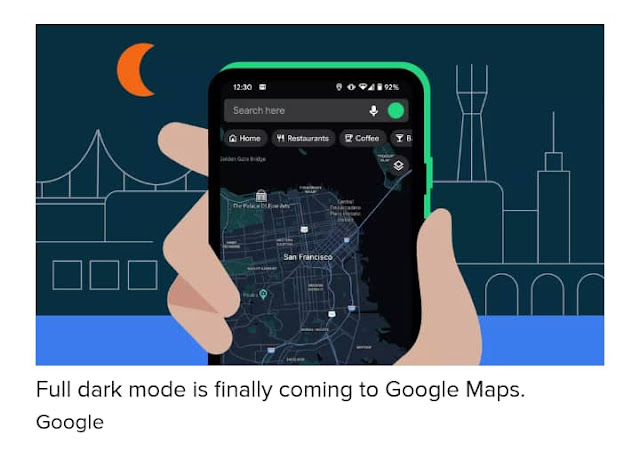 update on google map brings Dark Mode feature