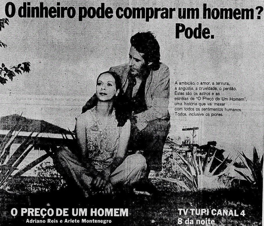 Propaganda antiga para promoção da novela O Preço de Um Homem da TV Tupi em 1971