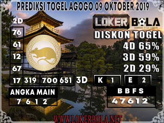 PREDIKSI TOGEL AGOGO LOKERBOLA 09 OKTOBER 2019