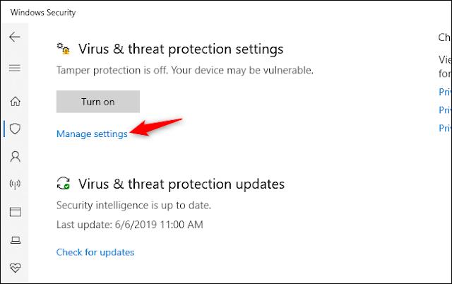 إدارة رابط الإعدادات لإعدادات الحماية من الفيروسات والتهديدات