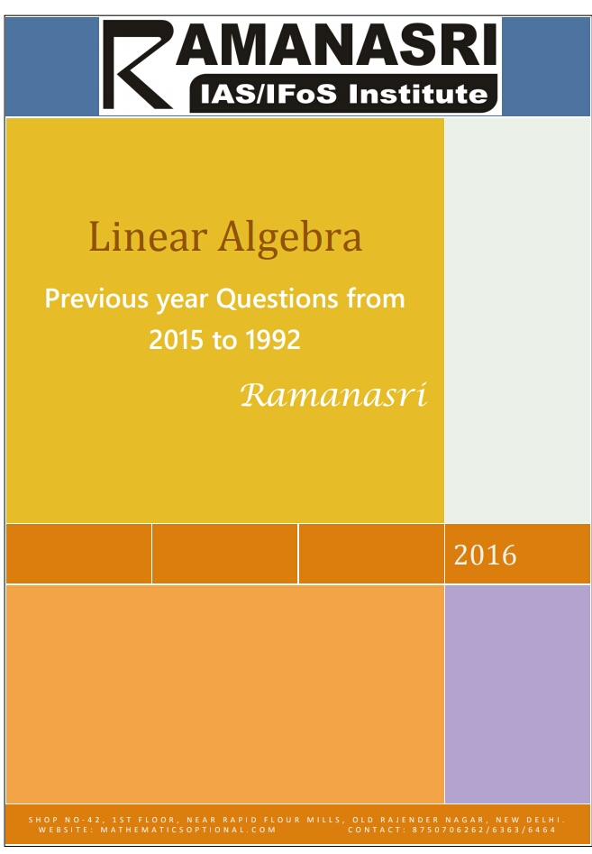 LINEAR ALGEBRA PREVIOUS YEAR QUESTIONS FROM 1992 TO 2015