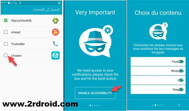 تطبيق unseen لقراءة جميع الرسائل الدردشة دون إظهار علامة تم العرض