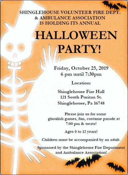 10-25 Halloween Party, Shinglehouse VFD
