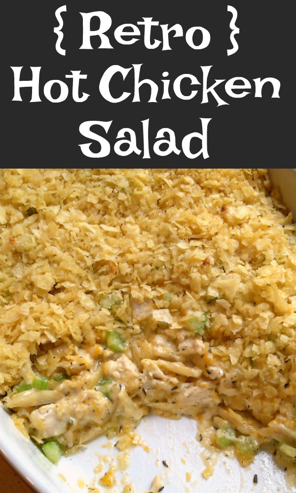 Hot Chicken Salad is a retro appetizer recipe made with almonds, cheese and celery topped with crushed potato chips served hot with crackers or served as a casserole.