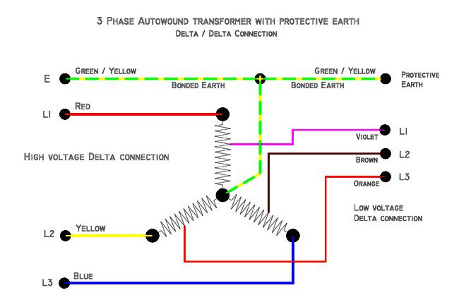 3 phase motor wiring diagram star delta architectural types 3-phase autowound transformer with protective earth (delta/delta connection) - electrical blog