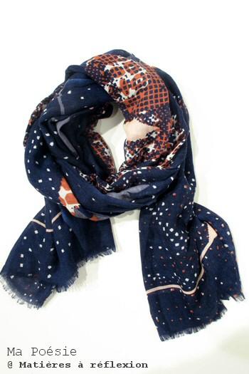Ma Poésie foulard bleu fluide Eternelle
