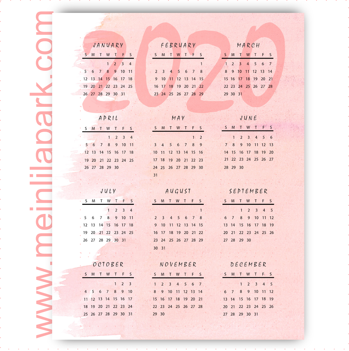 Thinking ahead: printable 2020 calendar in pink marshmallow