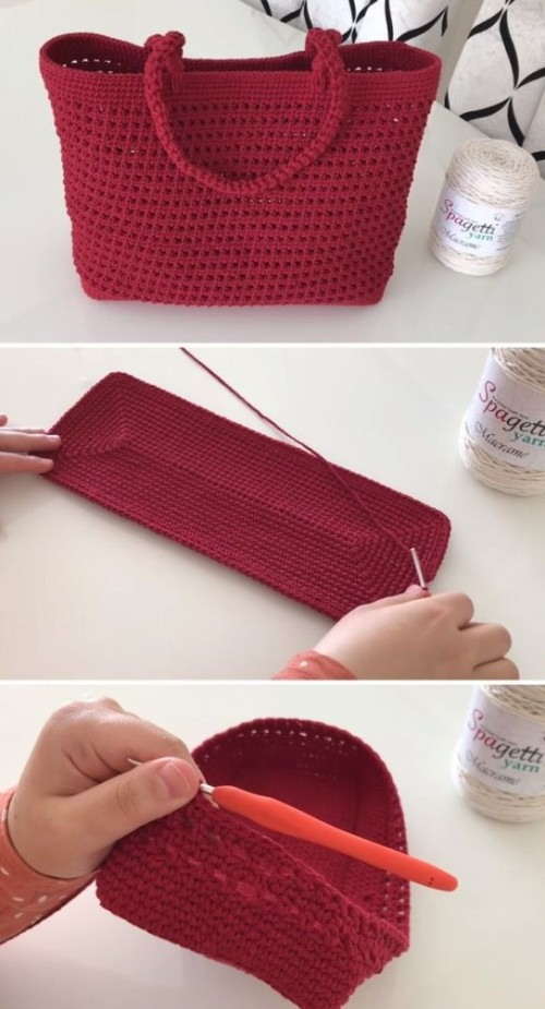 Crochet Bag With Macrame Rope - Tutorial