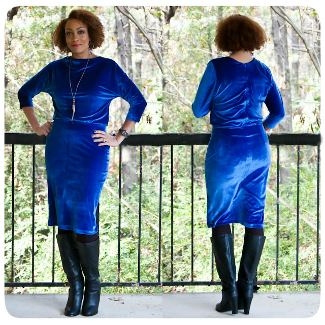 Vogue 1460 in stretch blue velvet - Erica Bunker DIY Style!