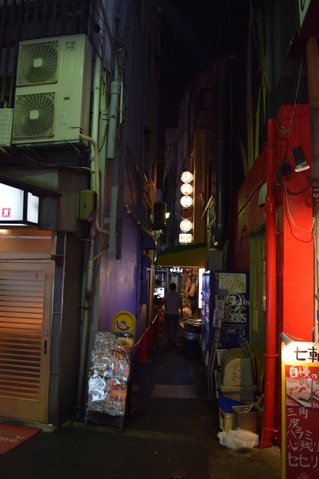 Tiny side street in minami Osaka at night