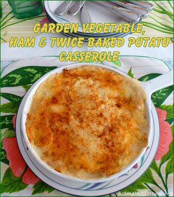 Garden Vegetable, Ham and Twice Baked Potato Casserole starts with sautéed vegetables, layered with cooked ham and topped with mashed potatoes. | Recipe developed by www.BakingInATornado.com | #recipe #dinner