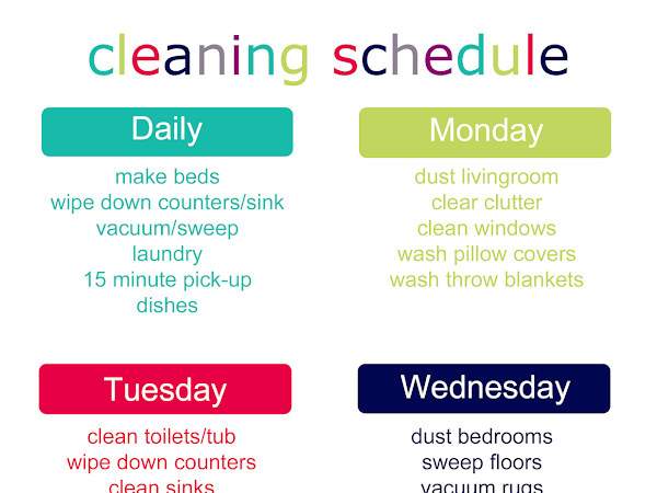 FREEBIE Cleaning Schedule for 2019