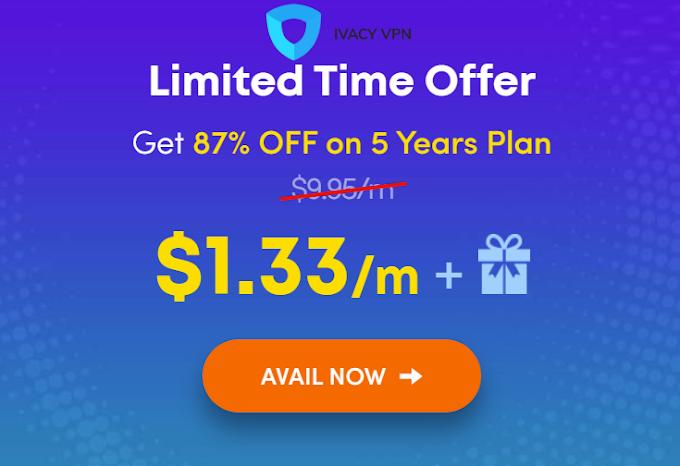 احصل على اشتراك VPN لمدة 5 سنوات بتخفيض 87% مع Ivacy VPN