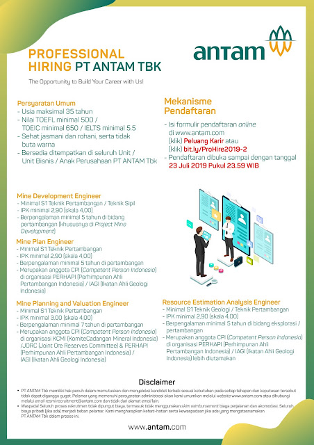 Rekrutmen BUMN PT ANTAM (Persero) 4 Posisi Tahun 2019