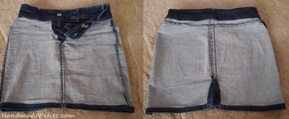 Inside view of denim skirt serged seams