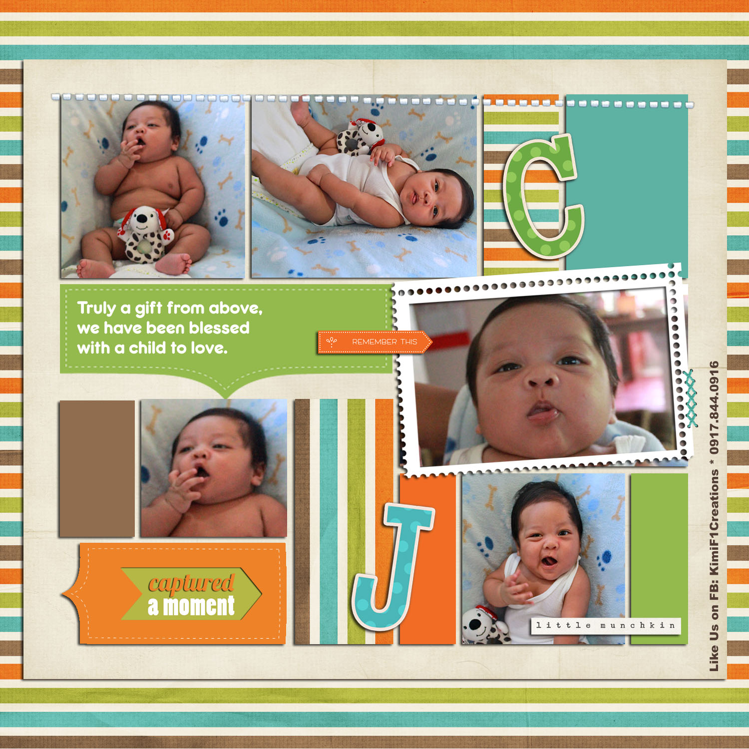 F1 Digital Scrapaholic Colorful Baby Tri Fold Christening Invites