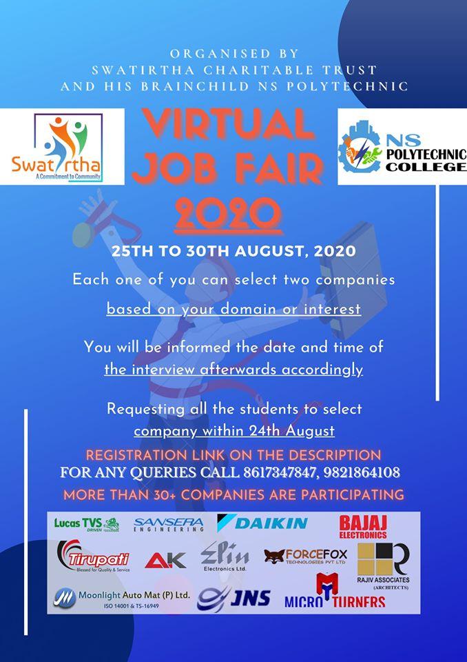 10th PASS,12th PASS,Diploma,ITI, Any Graduate Virtual Job Fair 2020 Registration Now