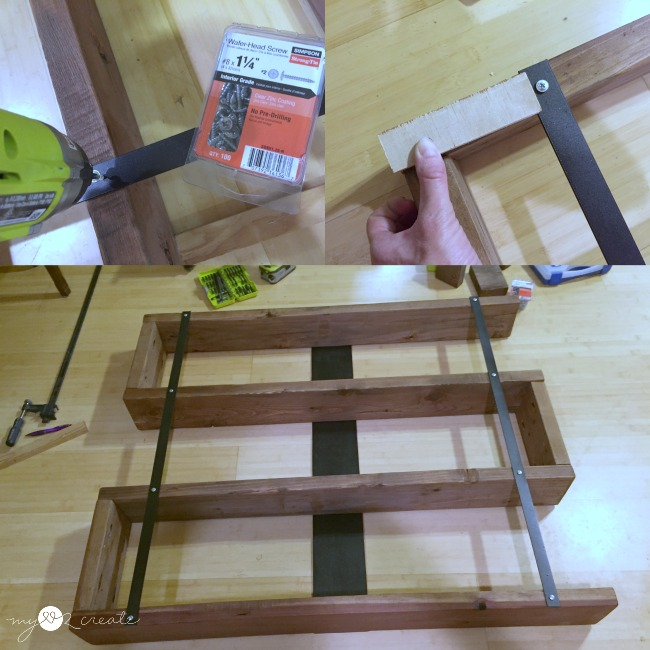 attaching metal front supports for modern bookshelf