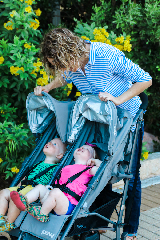 Venturing Out With Twins, traveling with twins, twin stroller, double stroller, twin umbrella stroller, twin mom, twin parenting, joovy twin groove ultralight stroller, joovy twin stroller, austin mom, austin mom blog, going out with twins, twin adventures, 18 month twins