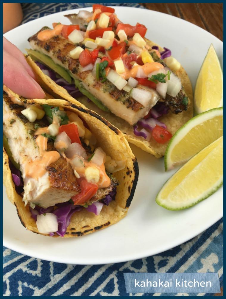 Kahakai kitchen curtis stone 39 s grilled mahi mahi tacos for Fish grill pico