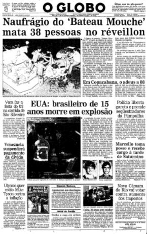No réveillon de 1988 a 1989 o 'Bateau Mouche' afundava e matava 55 pessoas