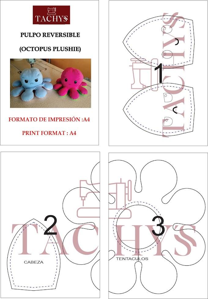 PULPO REVERSIBLE / OCTOPUS PLUSHIE: PATRÓN PDF IMPRIMIBLE GRATIS  | TACHYS
