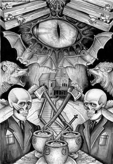 Horror Art Illustration, partly inspired film 'Psycho'.