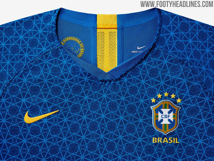 d3c3d789f04 The Brazil 2019 Women s World Cup away jersey is blue with yellow brandings  and an interesting all-over print