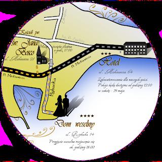 Informacje dla gości w formie opisu na mapce.