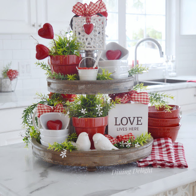 Valentine Tiered Tray Decor by Dining Delight featured at Pieced Pastimes