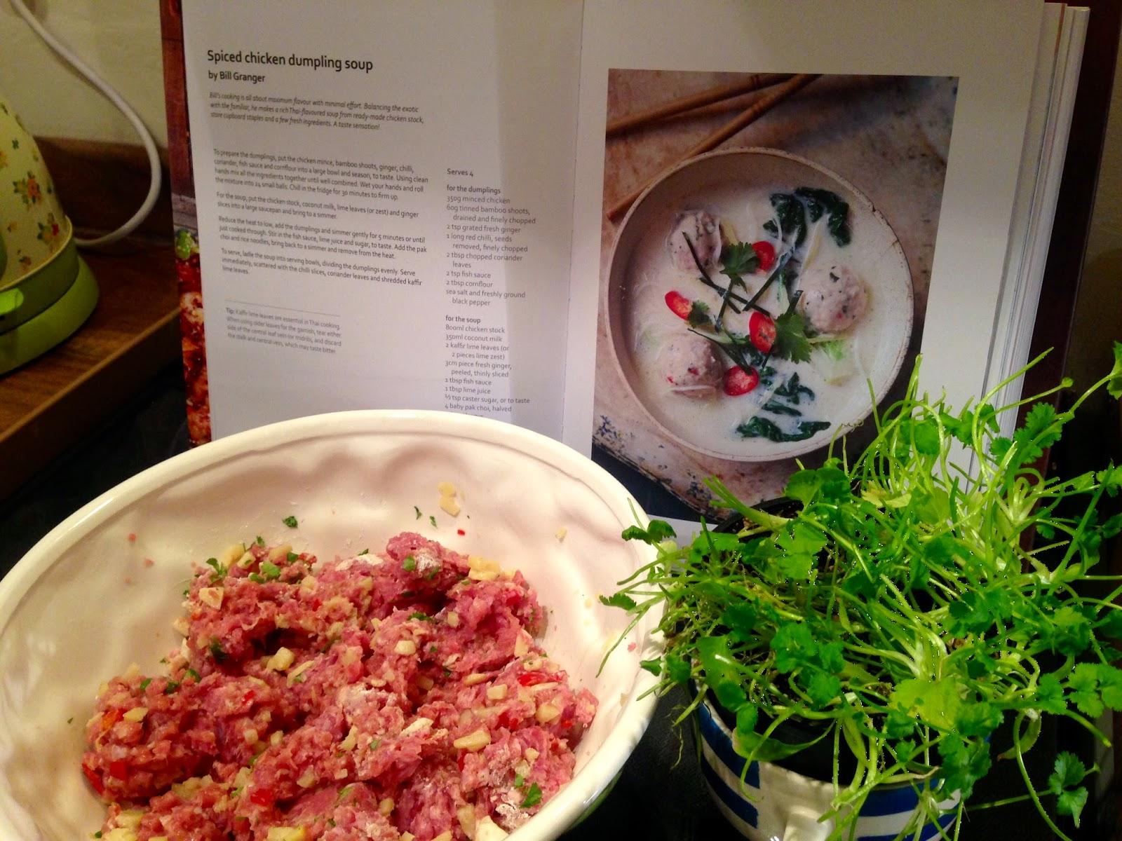 Bill Granger cook book and  Spiced chicken dumpling ingredients