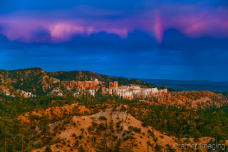 Cramer Imaging's fine art landscape photograph of a rainbow above the lookout at Bryce Canyon National Park Utah