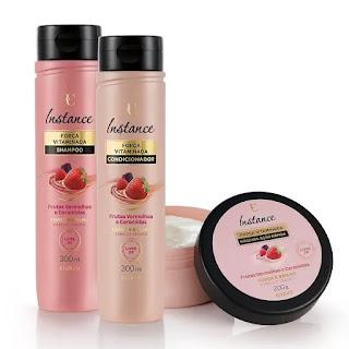 linha Instance Força vitaminada frutas vermelhas Eudora resenha dicas da tia shampoo condicionador mascara cabelos fracos frageis
