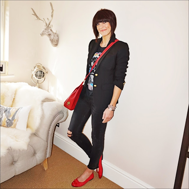 my midlife fashion, red quilted ballet pumps, zara distressed cigarette jeans, village england sway cross body bag, zara ramones band t shirt, j crew rhodes blazer