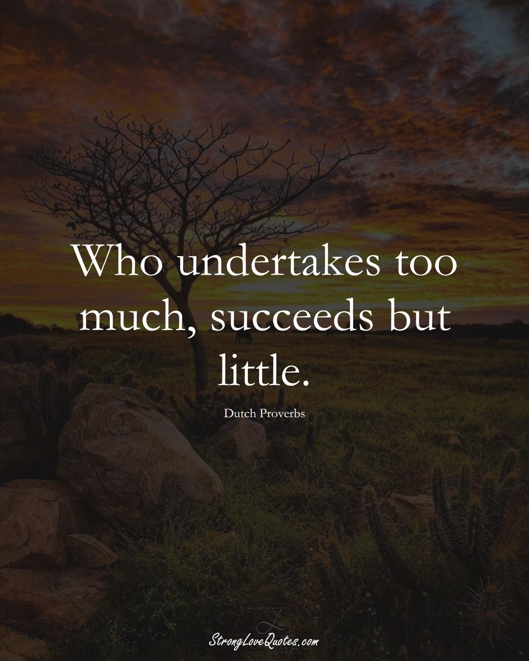 Who undertakes too much, succeeds but little. (Dutch Sayings);  #EuropeanSayings