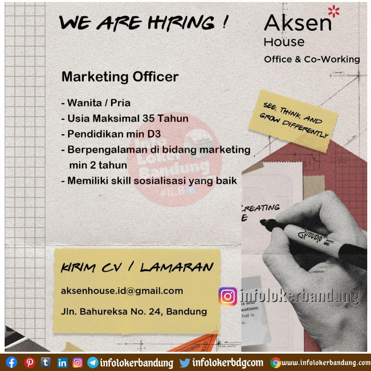 Lowongan Kerja Marketing Officer Aksen House Bandung November 2020