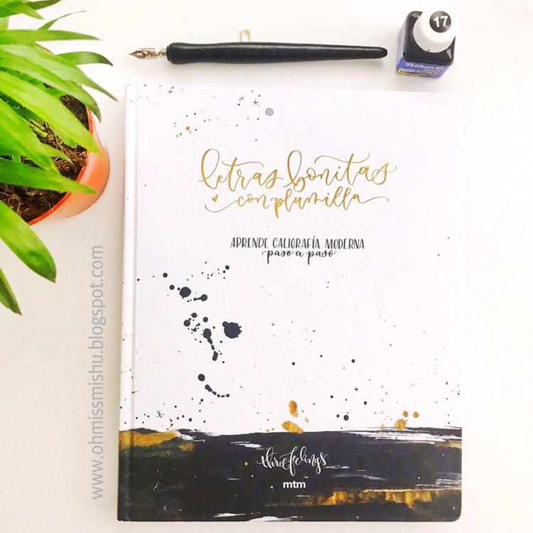 libro de caligrafía moderna con plumilla y florituras paso a paso