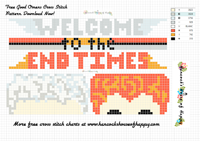 Aziraphale and Crowley Good Omens Cross Stitch Chart. Download this needlepoint pattern for free!