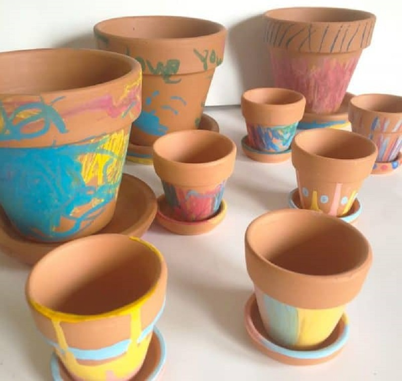 melted crayon decorated pots