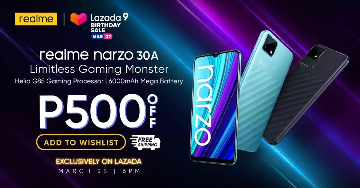 realme narzo 30A exclusive availability on Lazada
